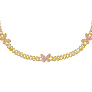 Gold Pavé Pink Butterfly Chain Link Choker - Adina's Jewels