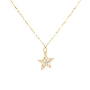 Pavé Star Necklace Gold - Adina's Jewels