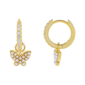 Gold CZ X Pearl Butterfly Huggie Earring - Adina's Jewels