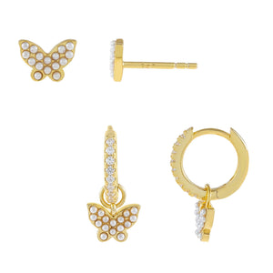 Pearl White Pearl X Butterfly Earring Combo Set - Adina's Jewels