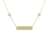 Gold Pavé Engraved Bar Butterfly Necklace - Adina's Jewels