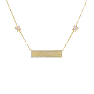 Pavé Engraved Bar Butterfly Necklace Gold - Adina's Jewels