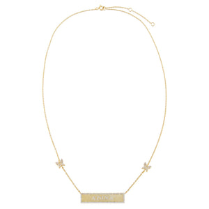 Pavé Engraved Bar Butterfly Necklace - Adina's Jewels