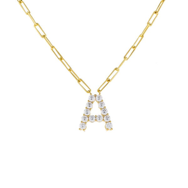 Gold / A Large CZ Uppercase Initial Link Necklace - Adina's Jewels