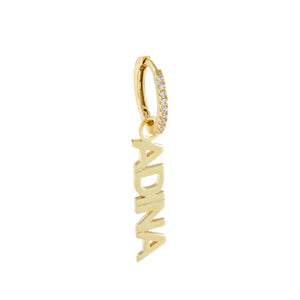 Gold / Charm With Huggie Mini Nameplate Charm - Adina's Jewels