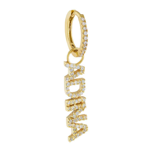Gold / Charm With Huggie Pavé Mini Nameplate Charm - Adina's Jewels