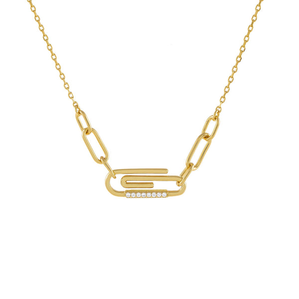 Gold CZ Paperclip Link Necklace - Adina's Jewels
