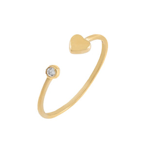 14K Gold / 6 CZ Mini Heart Ring 14K - Adina's Jewels