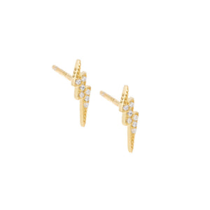 Gold Lightning Stud Earring - Adina's Jewels