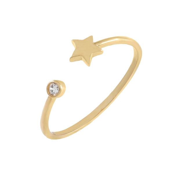 14K Gold / 6 CZ Star Ring 14K - Adina's Jewels