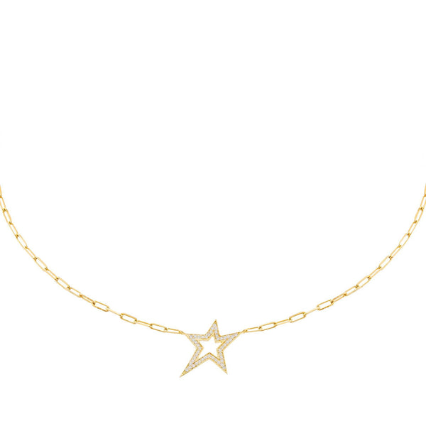 CZ Open Star Necklace Gold - Adina's Jewels