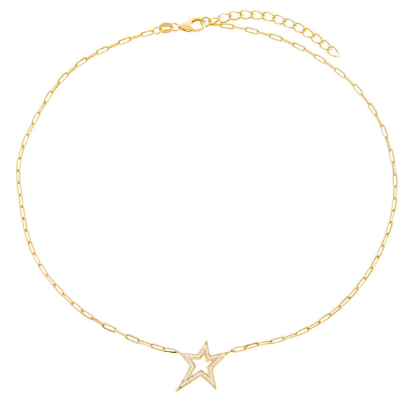 CZ Open Star Necklace  - Adina's Jewels