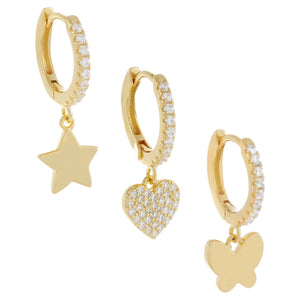 Pavé Mixed Charms Huggie Earring Combo Set Gold - Adina's Jewels