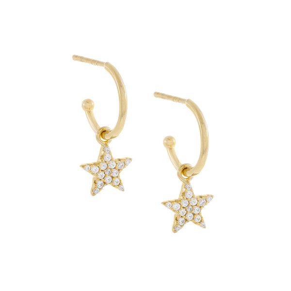Pavé Star Hoop Earring Gold - Adina's Jewels