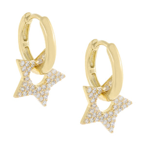 Pavé Open Star Huggie Earring Gold - Adina's Jewels