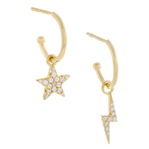 Pavé Star X Lightning Bolt Hoop Earring Gold - Adina's Jewels