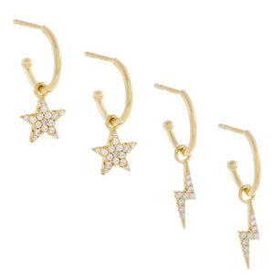 Gold Pavé Star X Lightning Hoop Earring Combo Set - Adina's Jewels