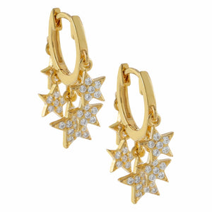 Pavé Dangling Stars Huggie Earring Gold - Adina's Jewels