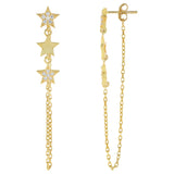 Gold Triple Star Chain Drop Stud Earring - Adina's Jewels