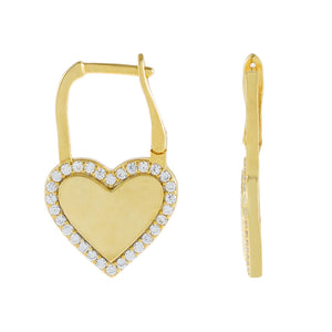 Gold Pavé X Solid Heart Huggie Earring - Adina's Jewels