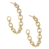 14K Gold Diamond Chain Hoop Earring 14K - Adina's Jewels