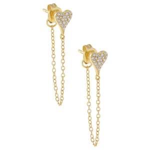 Gold Mini Pavé Heart Chain Stud Earring - Adina's Jewels