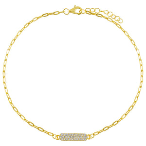 Gold Pavé Bar Link Anklet - Adina's Jewels