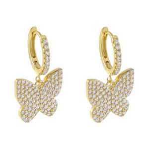 Gold Pavé Large Butterfly Huggie Earring - Adina's Jewels