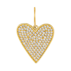 Pavé Heart Charm Gold - Adina's Jewels