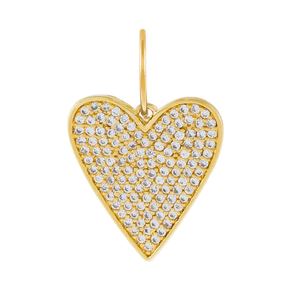 Gold Pavé Heart Charm - Adina's Jewels