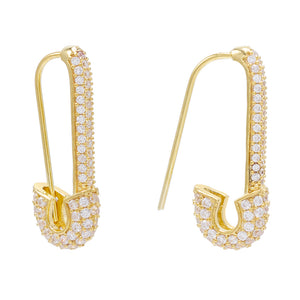 Gold Safety Pin Earring - Adina's Jewels