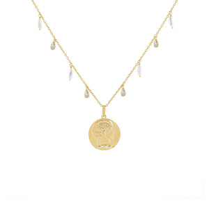 Gold CZ X Pearl Coin Necklace - Adina's Jewels