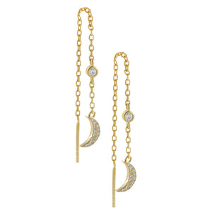 CZ Crescent Threader Drop Earring Gold - Adina's Jewels