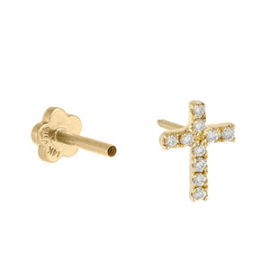 14K Gold / Single CZ Dainty Cross Threaded Stud Earring 14K - Adina's Jewels