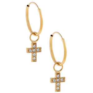 14K Gold CZ Cross Hoop Earring 14K - Adina's Jewels