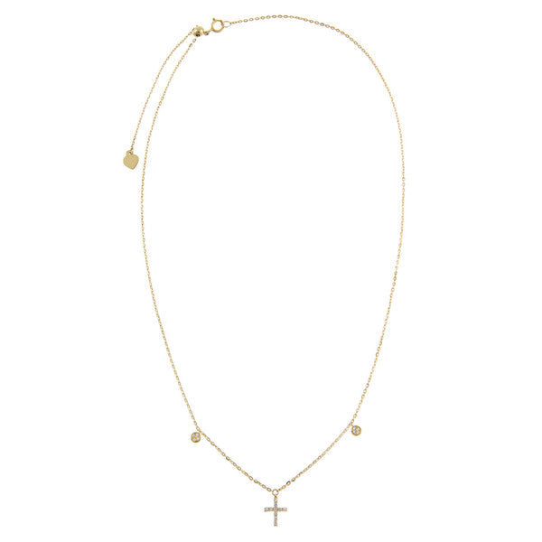 Diamond Dangling Cross Necklace 14K - Adina's Jewels