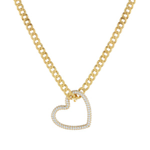 Gold Pavé Heart Cuban Chain Necklace - Adina's Jewels