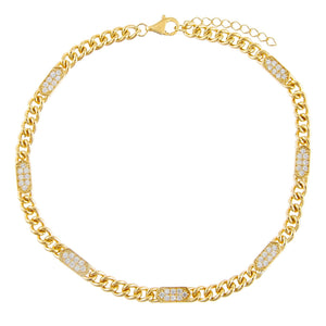 Gold Pavé Bars Chain Anklet - Adina's Jewels