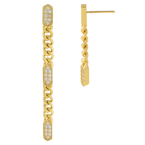 Gold Pavé Bars Drop Stud Earring - Adina's Jewels