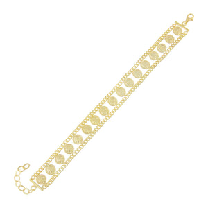 Gold Double Chain Coin Bracelet - Adina's Jewels