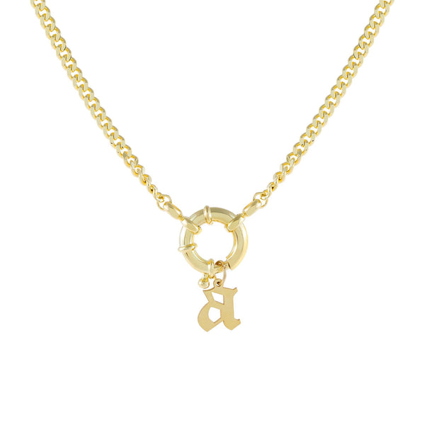 Gold / A Gothic Initial Toggle Cuban Necklace - Adina's Jewels