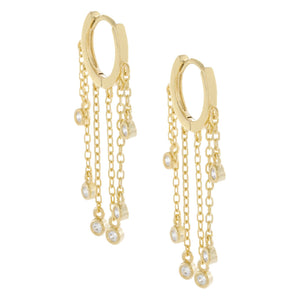 Bezel Chain Drop Huggie Earring Gold - Adina's Jewels