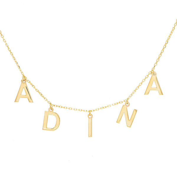 Gold Solid Block Name Necklace - Adina's Jewels
