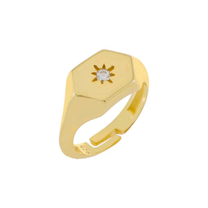 Starburst Signet Ring Gold - Adina's Jewels