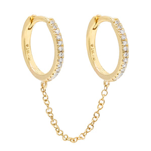 14K Gold / Single Diamond Double Huggie Chain Earring 14K - Adina's Jewels