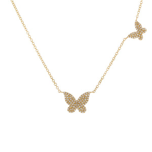 Diamond Dainty Double Butterfly Necklace 14K 14K Gold - Adina's Jewels