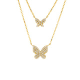 Gold Two in One Pavé Butterfly Necklace - Adina's Jewels