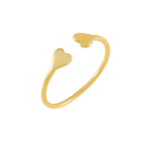 Gold Double Heart Ring - Adina's Jewels