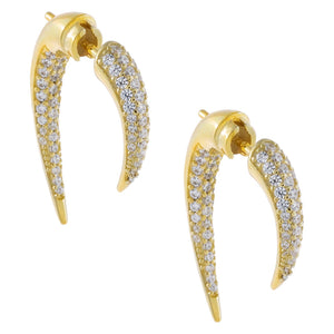 Gold Pavé Double Spike Stud Earring - Adina's Jewels