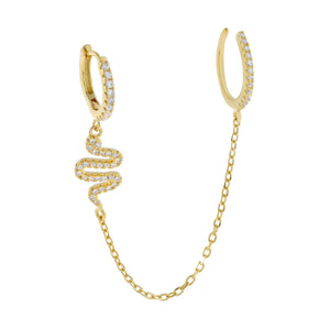 Gold / Single Pavé Snake Chain Huggie X Ear Cuff - Adina's Jewels